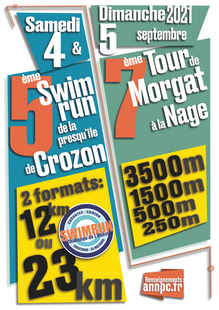 Affiche Tour de Morgat 2021 et Swimrun de Crozon 2021